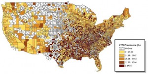 Figure 2. Prevalence of leisure-time physical inactivity. Darker orange represents higher level of physical inactivity.